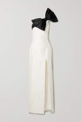 Rasario Bow-embellished One-shoulder Two-tone Silk-shantung Gown - White