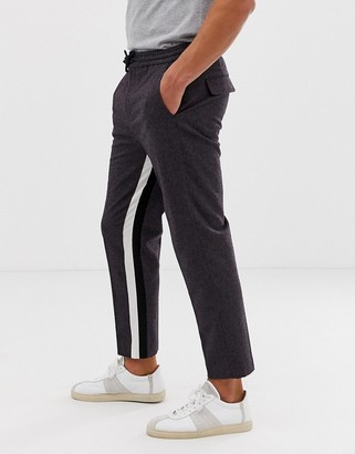 ASOS DESIGN tapered crop smart trouser in purple with insert stripe and drawcord
