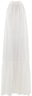 ASCENO Ibiza Silk-charmeuse Maxi Dress - White