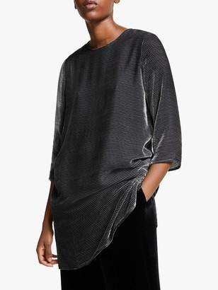 Eileen Fisher Stripe Velvet Tunic Top, Charcoal