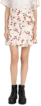The Kooples Naive Cherry Printed Ruffled Skirt