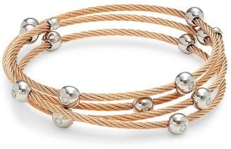 Alor 14K White Gold, Rosegold-Tone Stainless Steel & Diamond Multi-Strand Bangle Bracelet