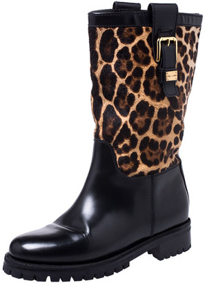 Dolce & Gabbana Dolce and Gabanna Black/Brown Leopard Print Calfhair and Leather Buckle Mid Calf Boots Size 37.5