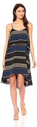 Halston Women's Sleeveless Printed Round Neck Layered Flounce Dress