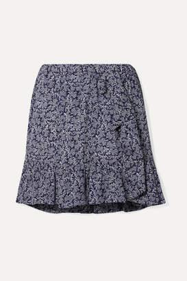 MICHAEL Michael Kors Ruffled Printed Crepe Mini Skirt - Navy