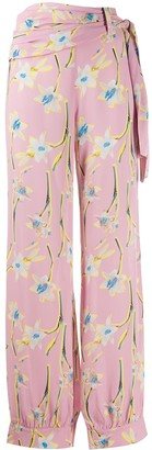 Pinko High-Waisted Floral Print Trousers