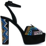 Giuseppe Zanotti Design suede crystal embellished platform sandals