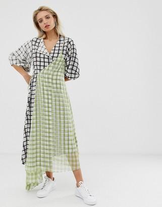 Asos check wrap dress-Multi