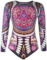 Viottis Women's Mesh Long Sleeve One-piece Bodysuit Rashguard Black&White 4XL