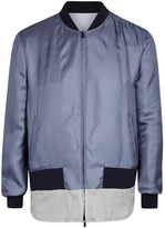 Fendi Blue Reversible Silk Twill Bomber Jacket