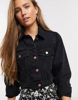 New Look cropped denim jacket in black