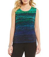 Allison Daley Sleeveless Horizontal Stripe Print Knit Top