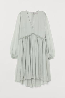 H&M V-neck Chiffon Dress - Green