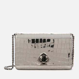 Kate Spade Women's Romy Metallic Croc Chain Wallet - Gunmetal