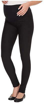 Plush Maternity Fleece-Lined Cotton Over-Belly Leggings (Black) Women's Clothing