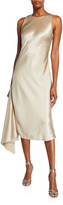 Mestiza New York Alana Satin Midi Asymmetric Side-Drape Slip Dress