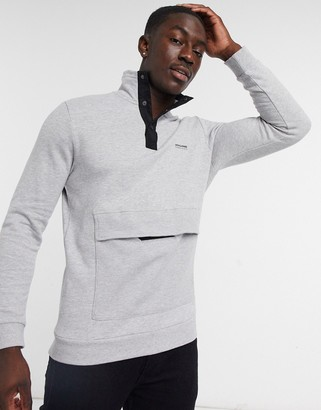 Jack and Jones Core sweat with quarter button neck in light gray