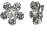 Liz Claiborne Silver-Tone Glass Stone Clip-on Earrings