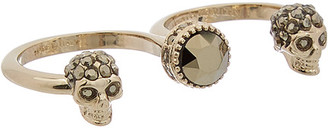 Alexander McQueen Double Skull Brass Ring