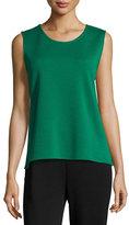 Caroline Rose Sleeveless Wool Long Tank, Emerald