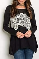 Andree Black Crochet Top