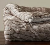 Pottery Barn Gathered Faux Fur Throw - Taupe