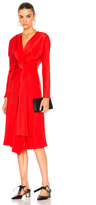 Victoria Beckham Crepe Back Satin Drape Wrap Dress in Red.