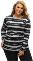 Designer97 Fashion Striped Women's Long Sleeve Womens Plus Size T-shirt Folded Side Blouse for Women 2XL/XXL