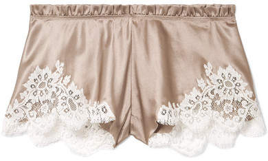Carine Gilson Chantilly Lace-trimmed Silk-satin Shorts - Beige