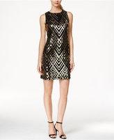 Jessica Howard Lattice-Print Sequin Sheath Dress
