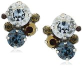 "Sorrelli Blue Brocade"" Crystal Assorted Rounds Post Earring"
