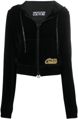 Versace Jeans Couture Zip-Up Logo Patch Hoodie
