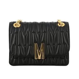 Moschino Shoulder Bag In Quilted Leather With Logo