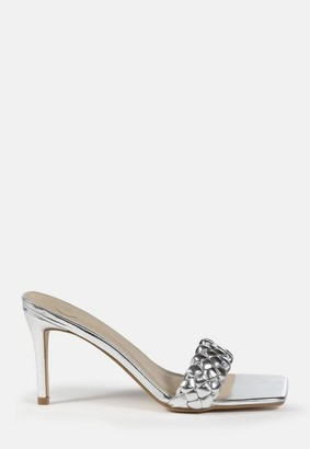 Missguided Silver Square Toe Braided Mid Heel Mule Sandals