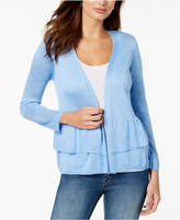NY Collection Petite Open-Front Ruffled Cardigan