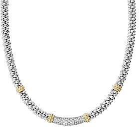 Lagos 18K Gold & Sterling Silver Diamond Lux Single Station Necklace, 16