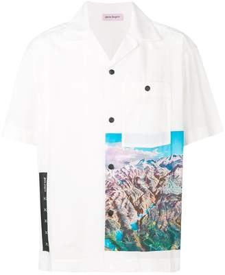 Palm Angels short sleeved mountain print shirt