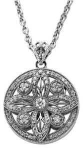Lord & Taylor Diamond-Accented Pendant in 14 Kt. White Gold, .5ct. t.w.
