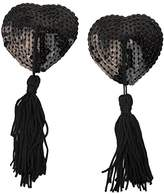 LUOEM Adhesive Pasties Breast Sequins Nipple Cover Stickers Love Heart Tassel Breast Concealer Pad for Women