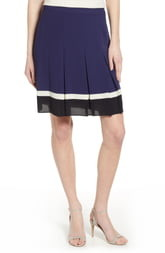 Anne Klein Pleated Colorblock Skirt