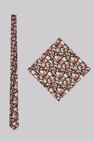 Moss Bros Black & Pink Floral Tie and Pocket Square Set