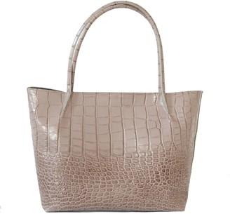 "Kartu Studio Natural Leather Tote Bag ""Windflower"" Beige Croc Print"