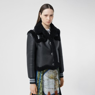 Burberry Striped Cuff Leather and Shearling Jacket