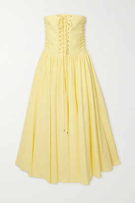 Philosophy di Lorenzo Serafini Strapless Lace-up Cotton-poplin Midi Dress - Yellow