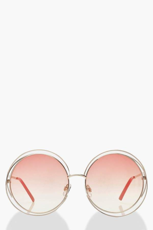 boohoo Ombre Coloured Lens Round Sunglasses
