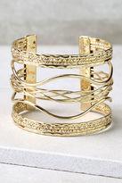 LuLu*s Swirl Power Gold Cuff Bracelet
