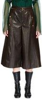 Chloé High-Waist Leather Culottes, Dark Brown