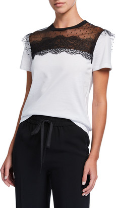 RED Valentino Short-Sleeve Cotton Tee w/ Lace Inset Top