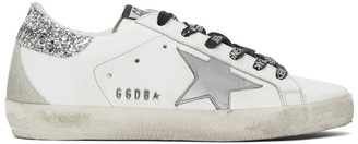 Golden Goose White and Silver Glitter Superstar Sneakers