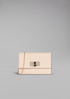 Giorgio Armani Borgonuovo 11 Wallet Mini Bag In Leather With Chain And Plexiglas Turn Lock Closure